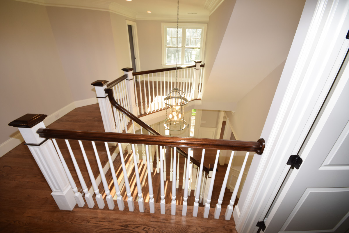 How to Stain - picture of stairs, handrails