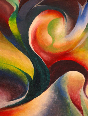 Image of an abstract painting with many colors