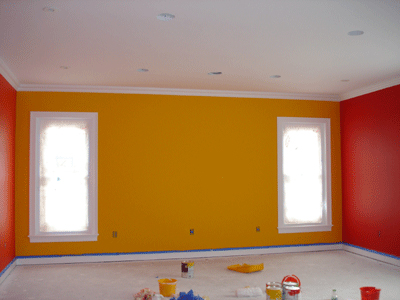 How to Paint a Room - picture of construction site painting a room