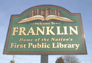 image of welcome to Franklin, MA sign